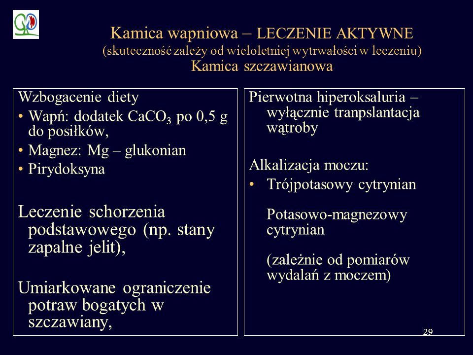 Leczenie schorzenia podstawowego (np. stany zapalne jelit),