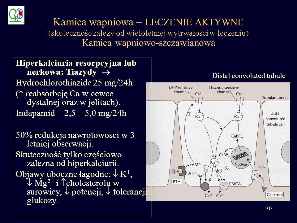 Kamica wapniowa – LECZENIE AKTYWNE (skuteczność zależy od wieloletniej wytrwałości w leczeniu) Kamica wapniowo-szczawianowa