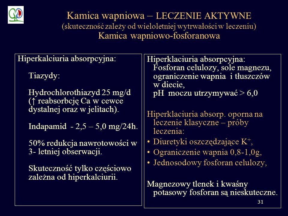 Kamica wapniowa – LECZENIE AKTYWNE (skuteczność zależy od wieloletniej wytrwałości w leczeniu) Kamica wapniowo-fosforanowa