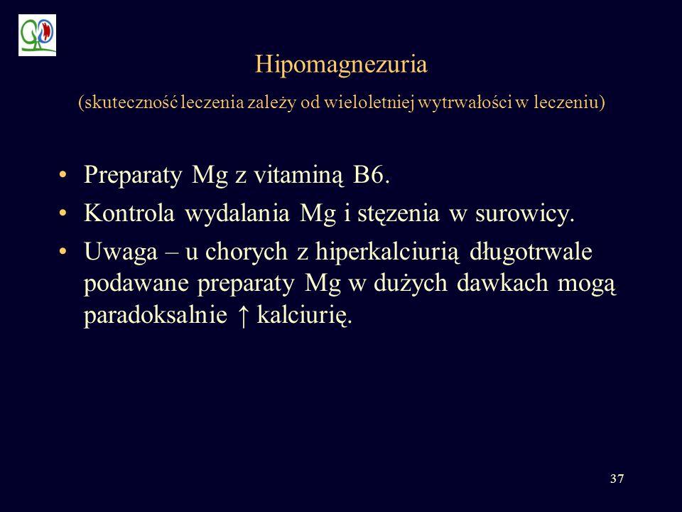 Hipomagnezuria (skuteczność leczenia zależy od wieloletniej wytrwałości w leczeniu)