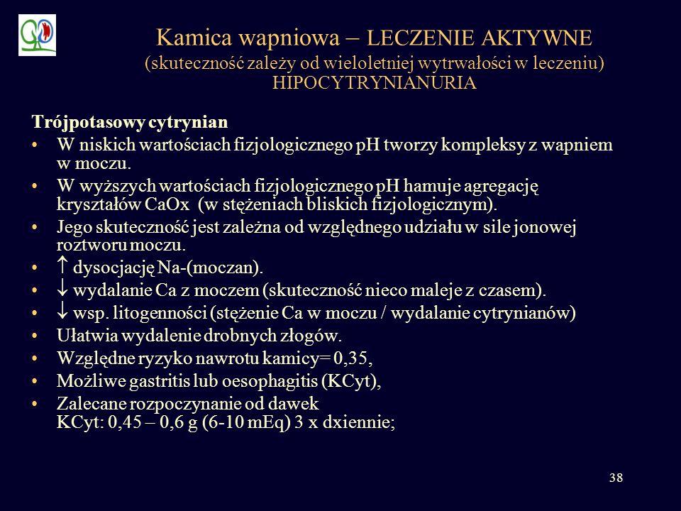 Kamica wapniowa – LECZENIE AKTYWNE (skuteczność zależy od wieloletniej wytrwałości w leczeniu) HIPOCYTRYNIANURIA