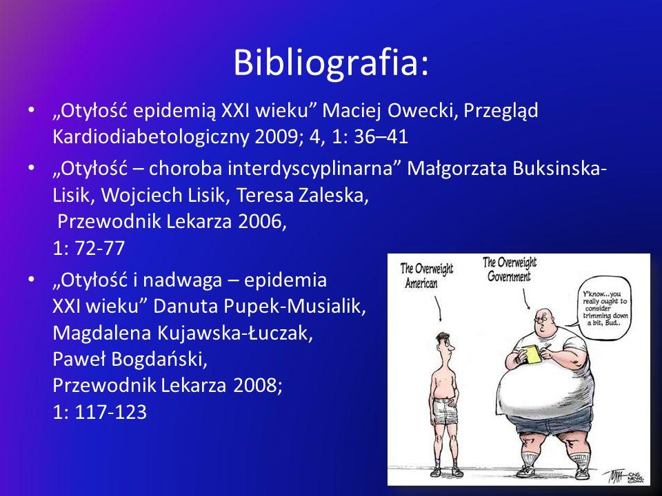 """Bibliografia: """"Otyłość epidemią XXI wieku Maciej Owecki, Przegląd Kardiodiabetologiczny 2009; 4, 1: 36–41."""