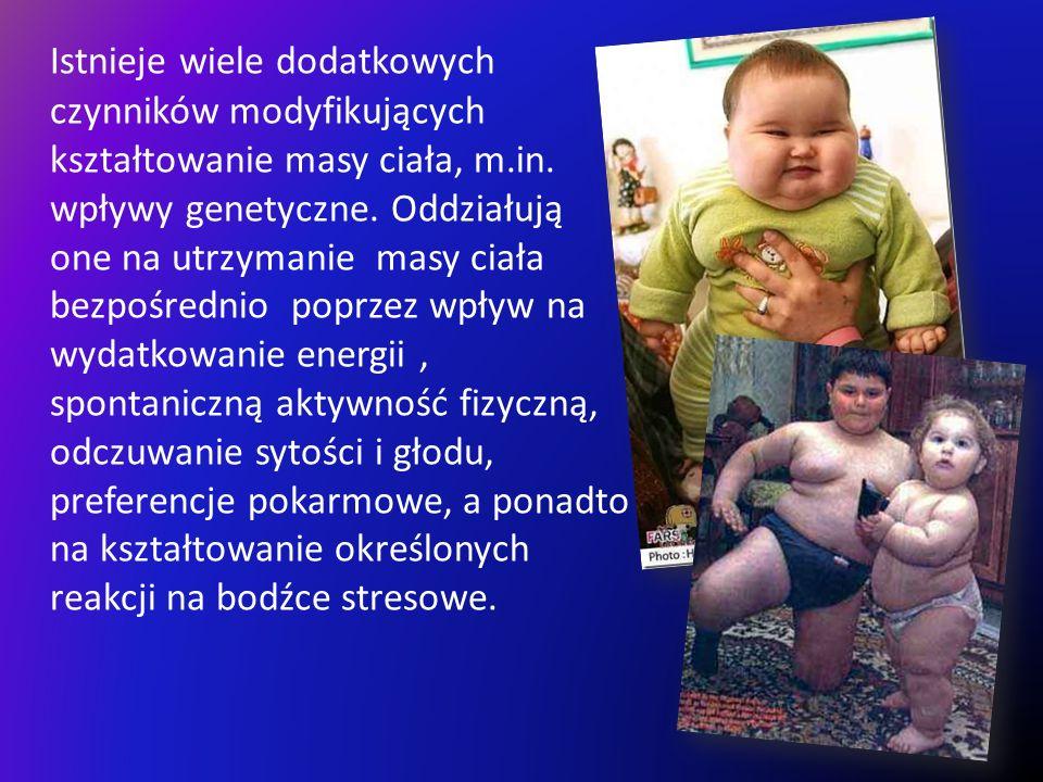 Istnieje wiele dodatkowych czynników modyfikujących kształtowanie masy ciała, m.in.