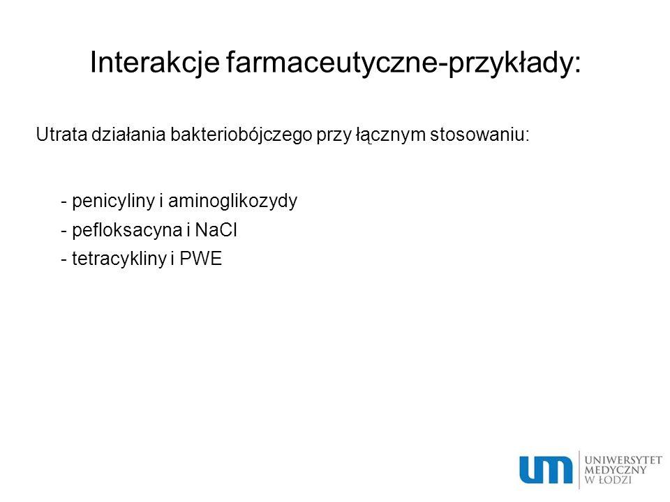 Interakcje farmaceutyczne-przykłady: