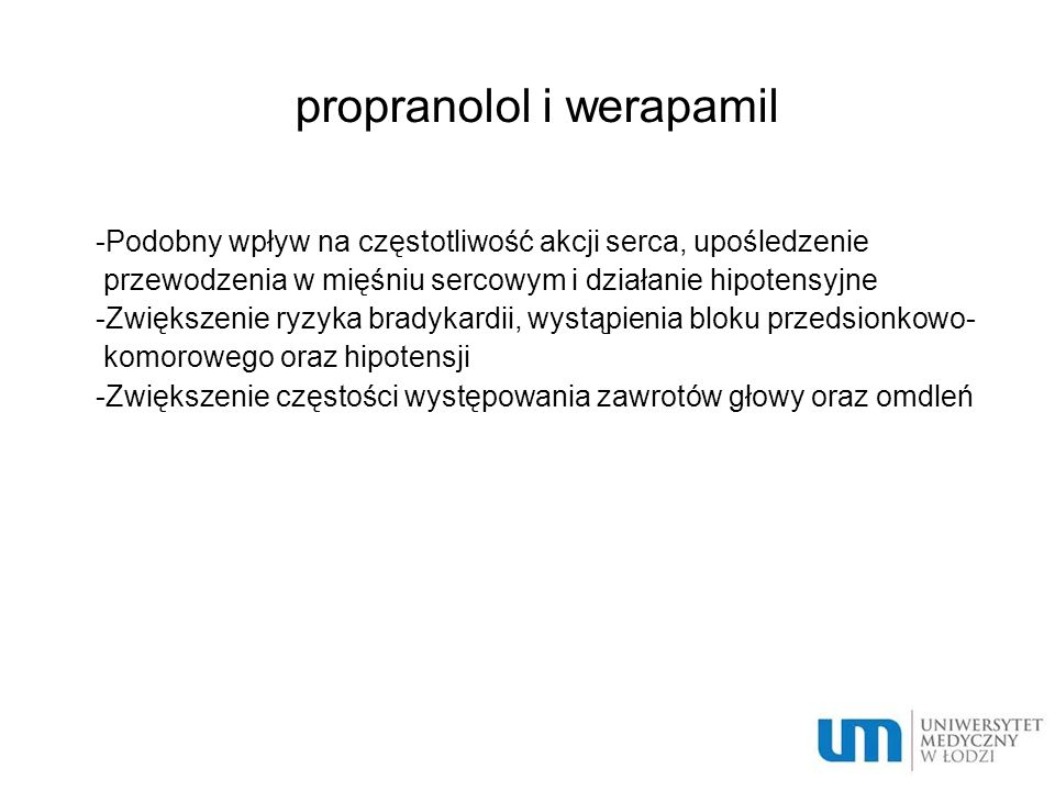 propranolol i werapamil