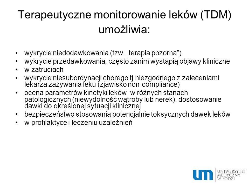 Terapeutyczne monitorowanie leków (TDM) umożliwia: