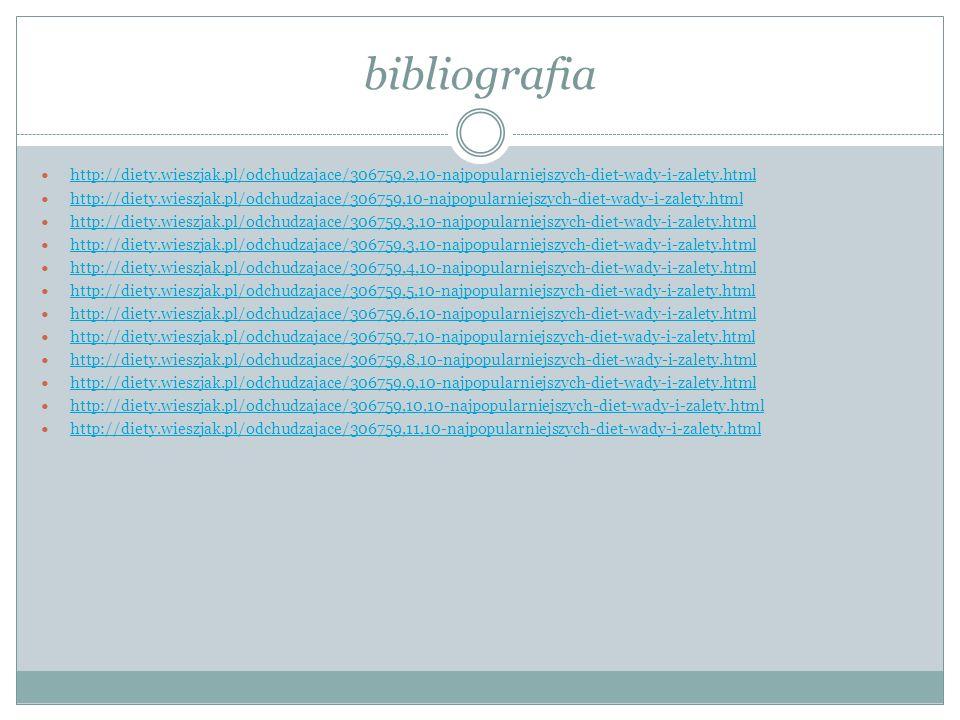 bibliografia http://diety.wieszjak.pl/odchudzajace/306759,2,10-najpopularniejszych-diet-wady-i-zalety.html.