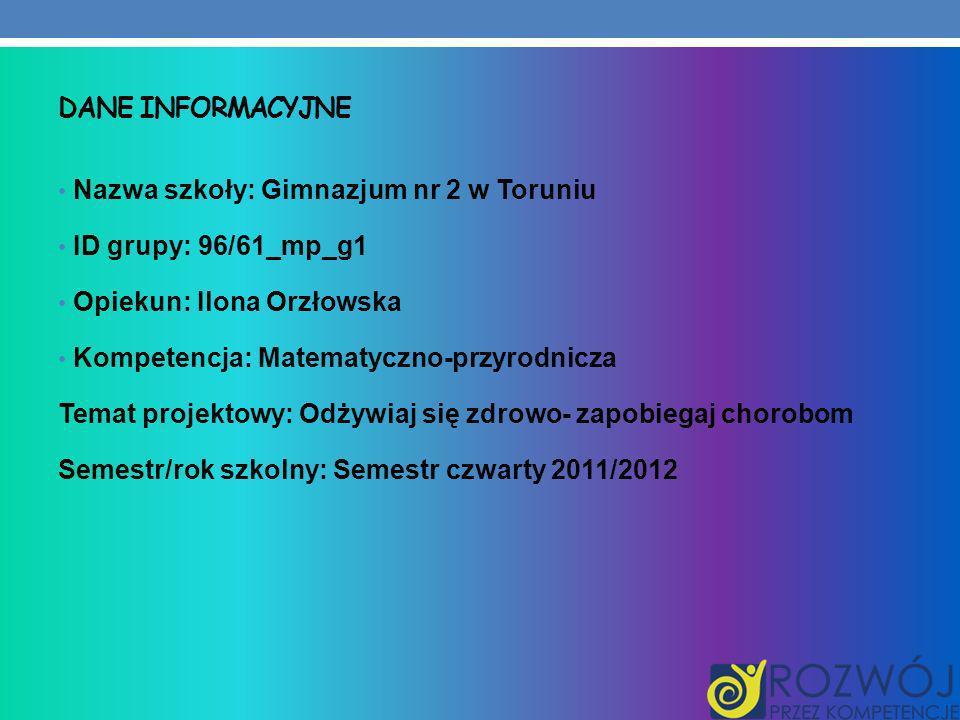 Dane INFORMACYJNE Nazwa szkoły: Gimnazjum nr 2 w Toruniu. ID grupy: 96/61_mp_g1. Opiekun: Ilona Orzłowska.
