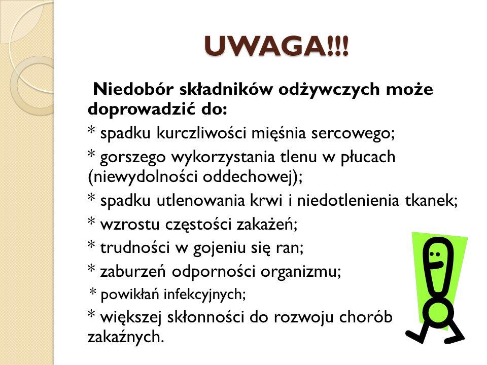 UWAGA!!! Niedobór składników odżywczych może doprowadzić do: