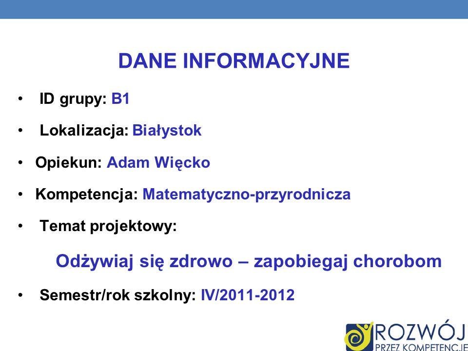 DANE INFORMACYJNE ID grupy: B1 Lokalizacja: Białystok