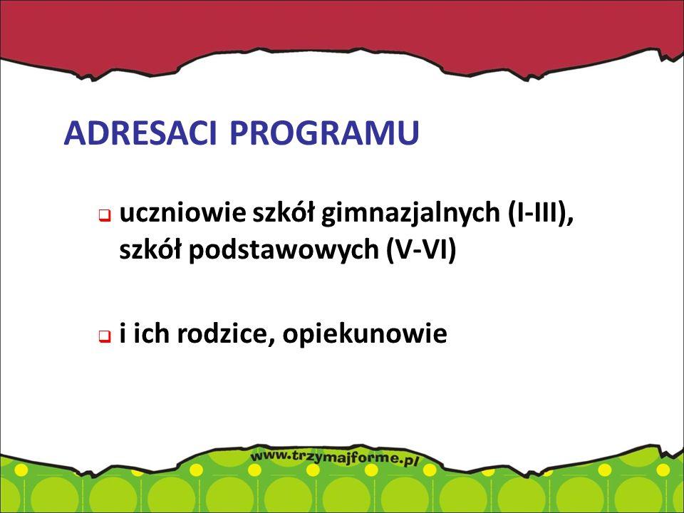 ADRESACI PROGRAMU uczniowie szkół gimnazjalnych (I-III), szkół podstawowych (V-VI) i ich rodzice, opiekunowie.