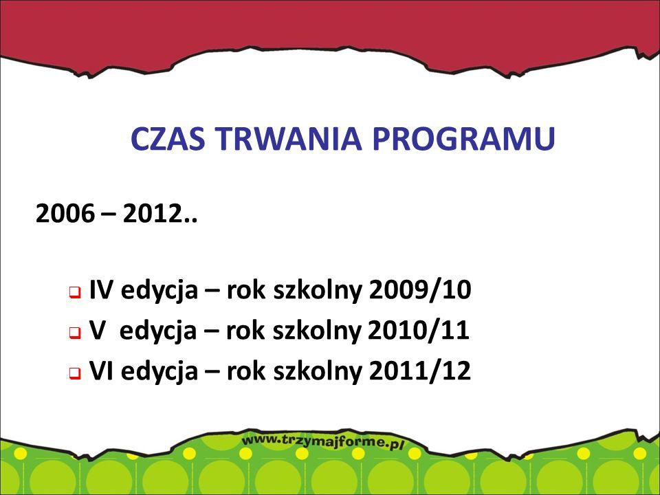 CZAS TRWANIA PROGRAMU 2006 – 2012.. IV edycja – rok szkolny 2009/10