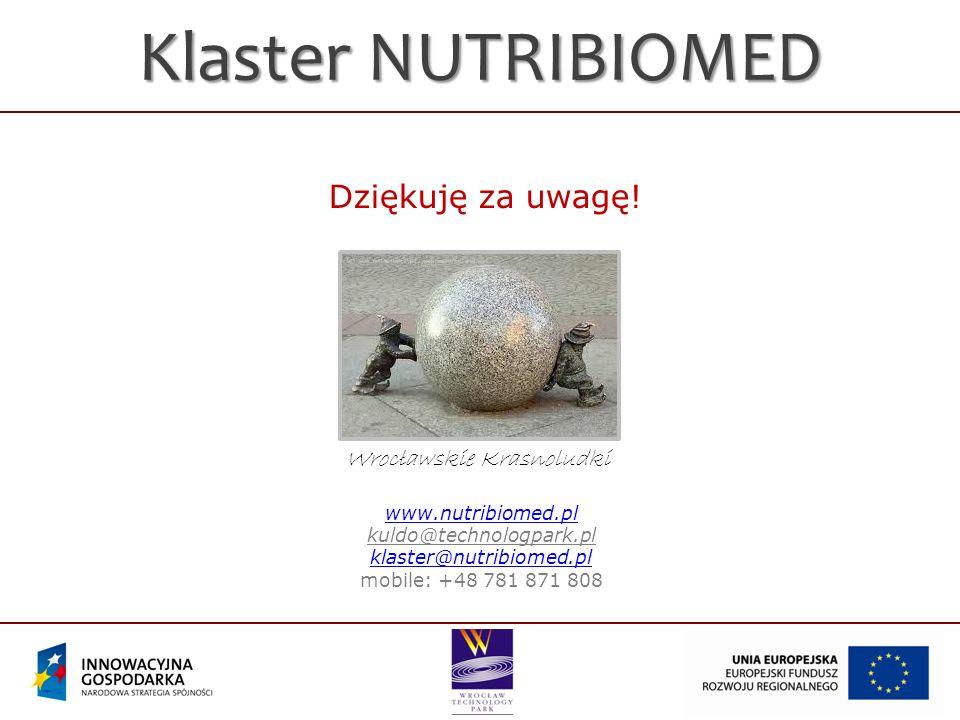 Klaster NUTRIBIOMED Dziękuję za uwagę! Wrocławskie Krasnoludki