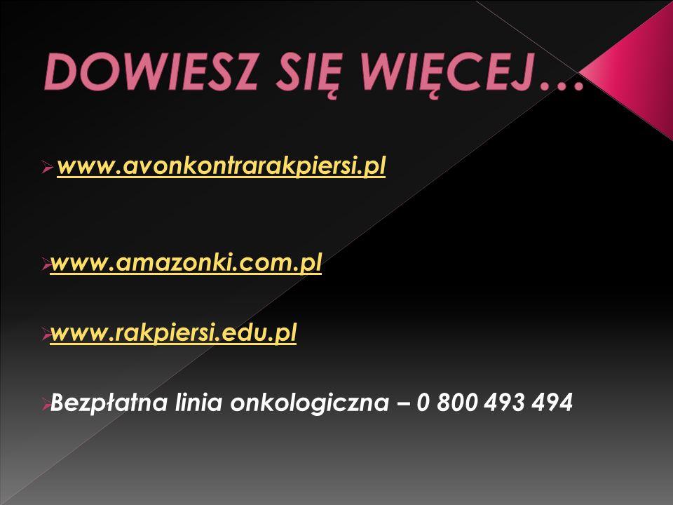 DOWIESZ SIĘ WIĘCEJ… www.avonkontrarakpiersi.pl www.amazonki.com.pl