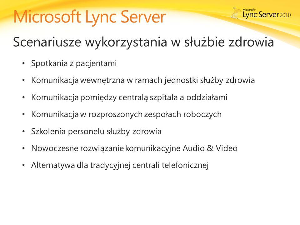 Microsoft Lync Server Scenariusze wykorzystania w służbie zdrowia