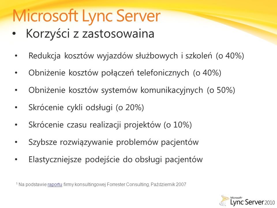 Microsoft Lync Server Korzyści z zastosowaina