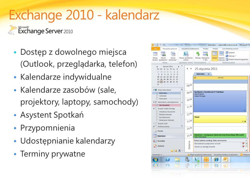 Exchange 2010 - kalendarz Dostęp z dowolnego miejsca (Outlook, przeglądarka, telefon) Kalendarze indywidualne.