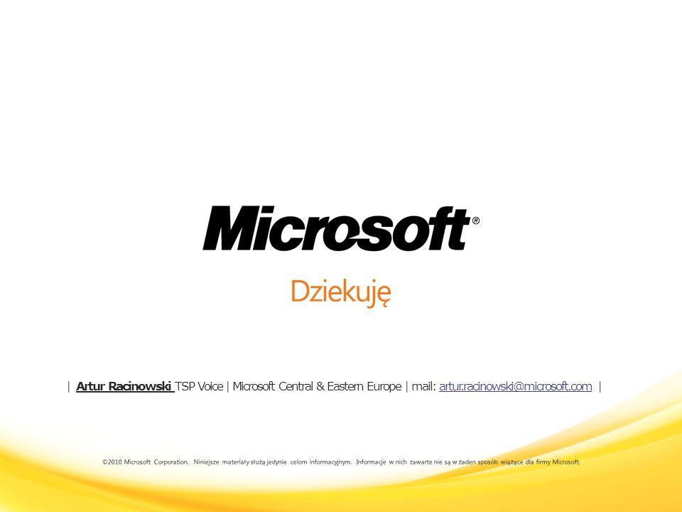 2017-03-28 09:42Dziekuję.   Artur Racinowski TSP Voice   Microsoft Central & Eastern Europe   mail: artur.racinowski@microsoft.com  