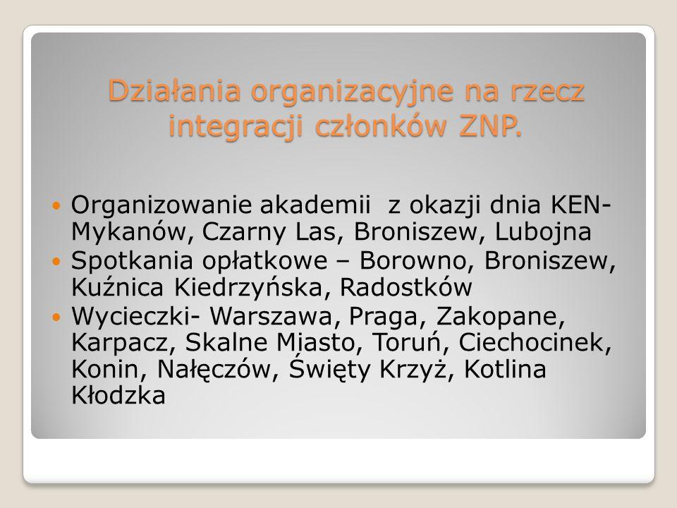 Działania organizacyjne na rzecz integracji członków ZNP.