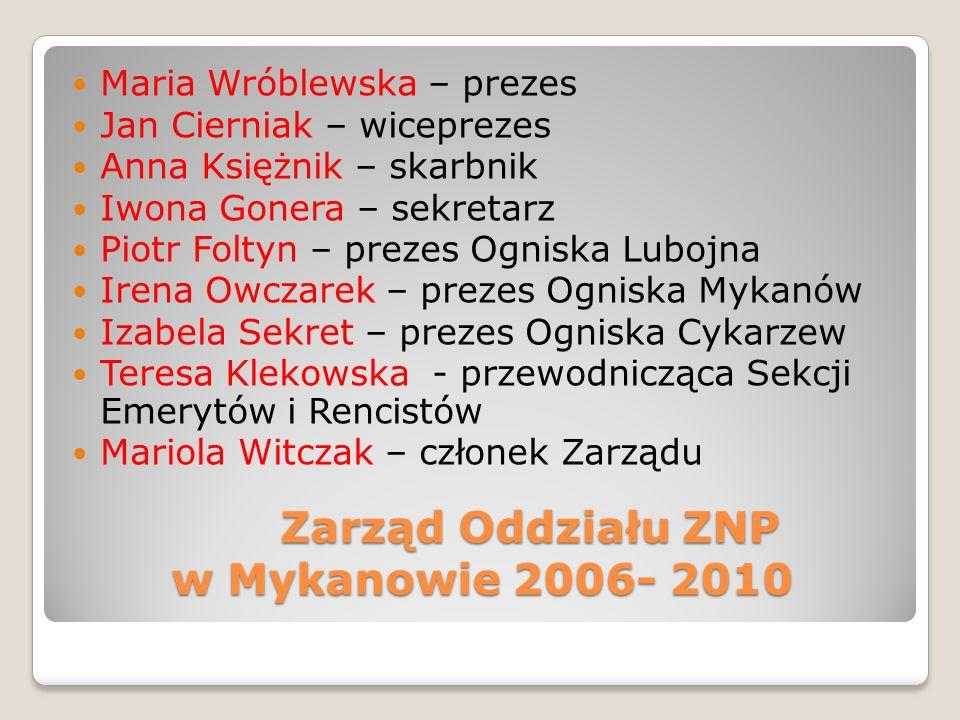 Zarząd Oddziału ZNP w Mykanowie 2006- 2010