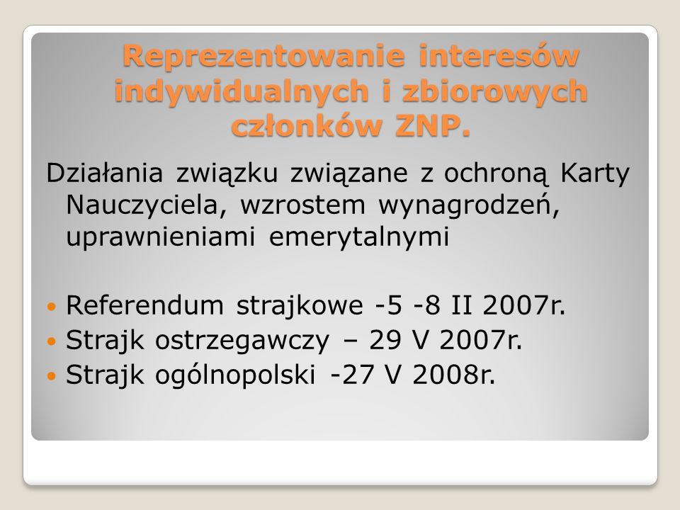 Reprezentowanie interesów indywidualnych i zbiorowych członków ZNP.
