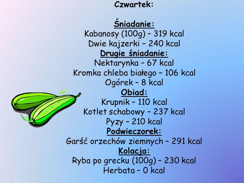 Kromka chleba białego – 106 kcal Ogórek – 8 kcal Obiad: