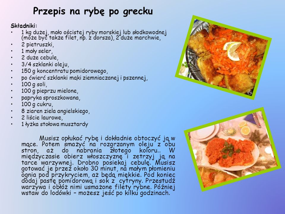 Przepis na rybę po grecku