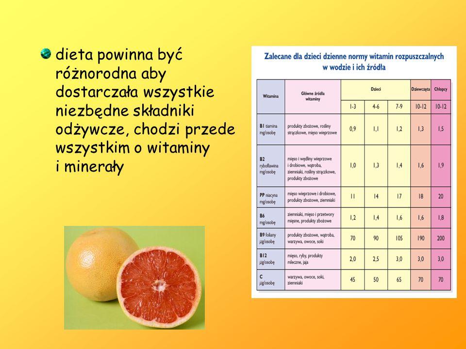 dieta powinna być różnorodna aby dostarczała wszystkie niezbędne składniki odżywcze, chodzi przede wszystkim o witaminy i minerały