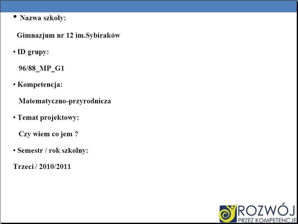 Nazwa szkoły: Gimnazjum nr 12 im.Sybiraków ID grupy: 96/88_MP_G1