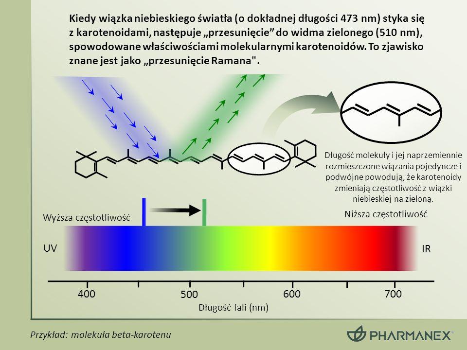 """Kiedy wiązka niebieskiego światła (o dokładnej długości 473 nm) styka się z karotenoidami, następuje """"przesunięcie do widma zielonego (510 nm), spowodowane właściwościami molekularnymi karotenoidów. To zjawisko znane jest jako """"przesunięcie Ramana ."""