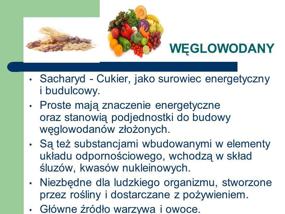 WĘGLOWODANY Sacharyd - Cukier, jako surowiec energetyczny i budulcowy.