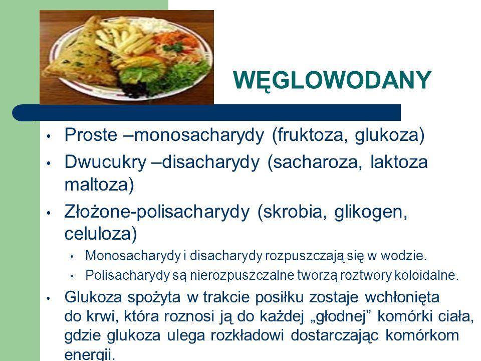 WĘGLOWODANY Proste –monosacharydy (fruktoza, glukoza)