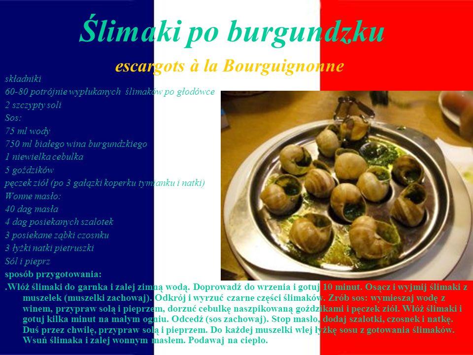 Ślimaki po burgundzku escargots à la Bourguignonne składniki
