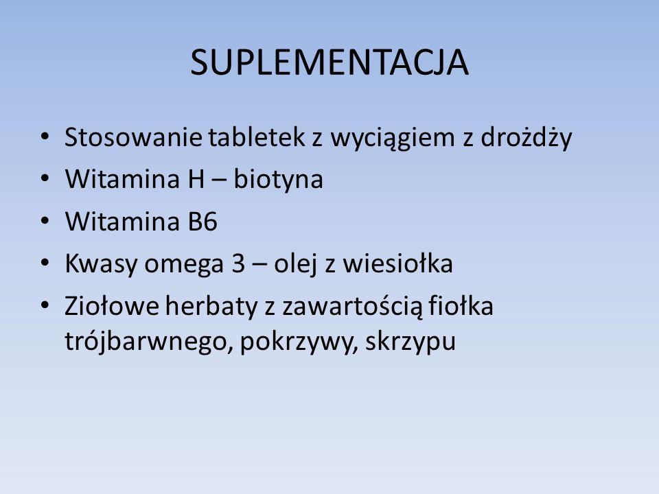 SUPLEMENTACJA Stosowanie tabletek z wyciągiem z drożdży