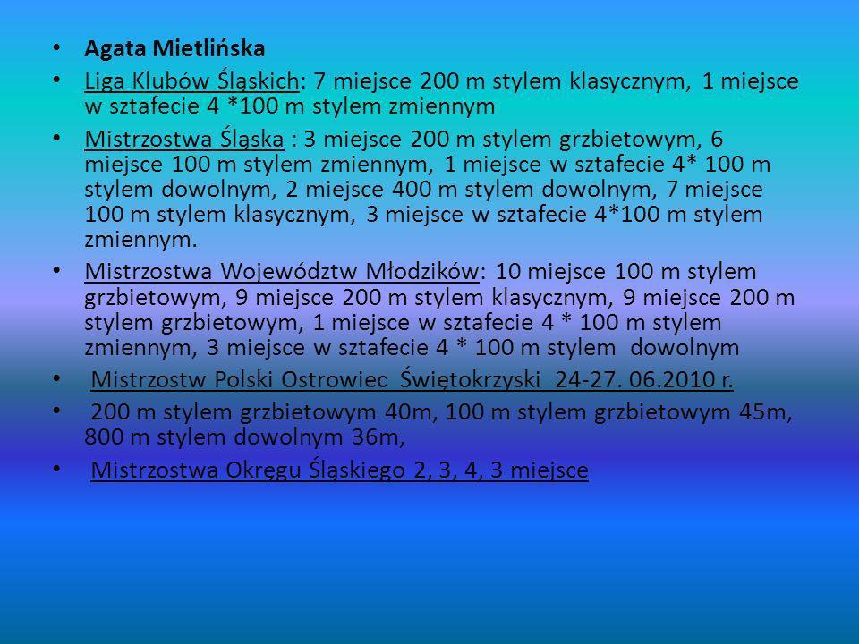 Agata Mietlińska Liga Klubów Śląskich: 7 miejsce 200 m stylem klasycznym, 1 miejsce w sztafecie 4 *100 m stylem zmiennym.