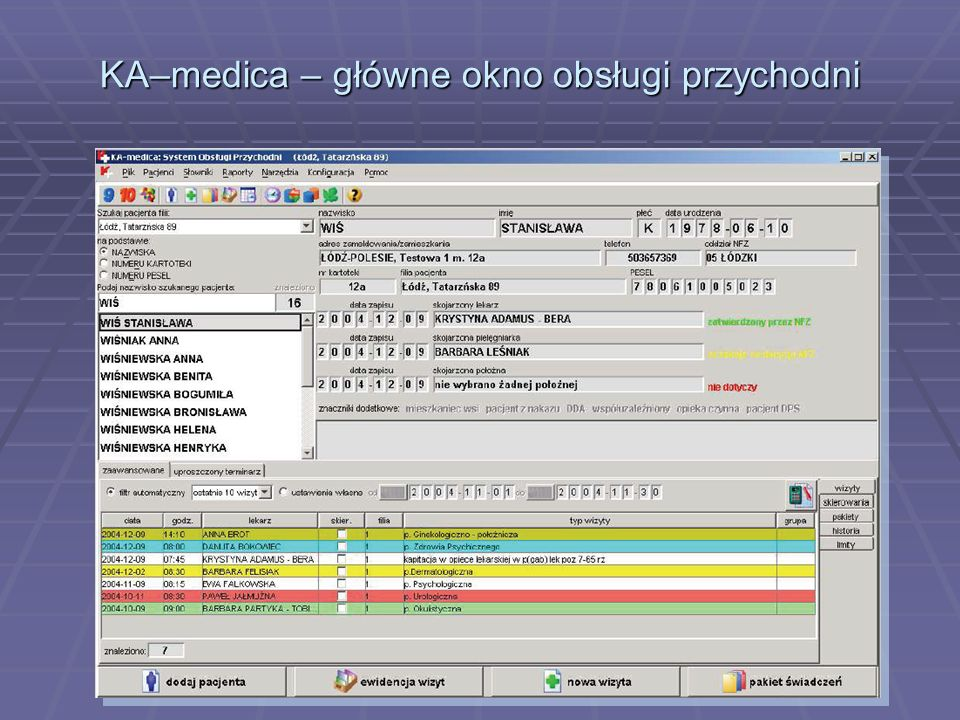KA–medica – główne okno obsługi przychodni