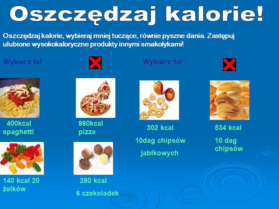 Oszczędzaj kalorie! Oszczędzaj kalorie, wybieraj mniej tuczące, równie pyszne dania. Zastępuj ulubione wysokokaloryczne produkty innymi smakołykami!