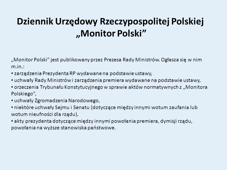 """Dziennik Urzędowy Rzeczypospolitej Polskiej """"Monitor Polski"""