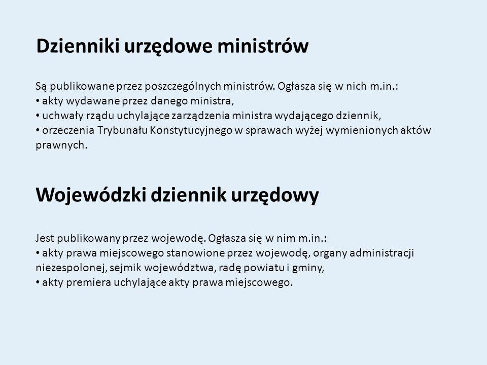 Dzienniki urzędowe ministrów
