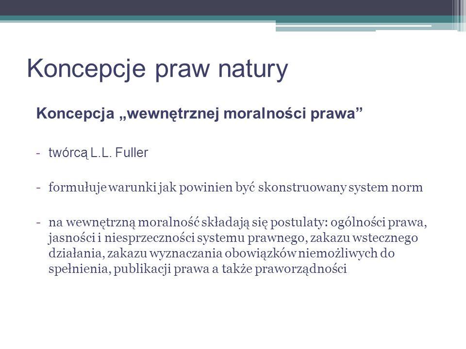 """Koncepcje praw natury Koncepcja """"wewnętrznej moralności prawa"""
