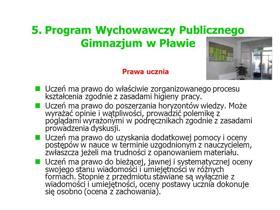 5. Program Wychowawczy Publicznego Gimnazjum w Pławie