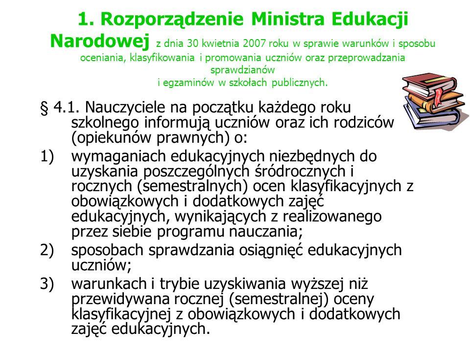 1. Rozporządzenie Ministra Edukacji Narodowej z dnia 30 kwietnia 2007 roku w sprawie warunków i sposobu oceniania, klasyfikowania i promowania uczniów oraz przeprowadzania sprawdzianów i egzaminów w szkołach publicznych.