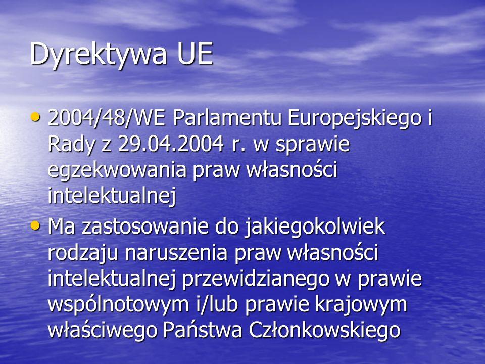 Dyrektywa UE 2004/48/WE Parlamentu Europejskiego i Rady z 29.04.2004 r. w sprawie egzekwowania praw własności intelektualnej.