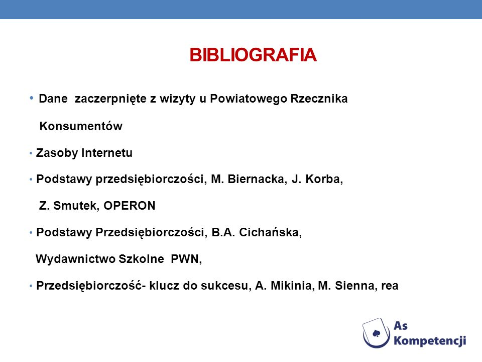 bibliografia Dane zaczerpnięte z wizyty u Powiatowego Rzecznika