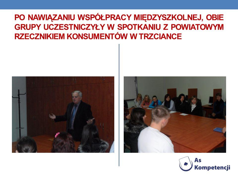 Po nawiązaniu współpracy międzyszkolnej, obie grupy uczestniczyły w spotkaniu z powiatowym rzecznikiem konsumentów w trzciance