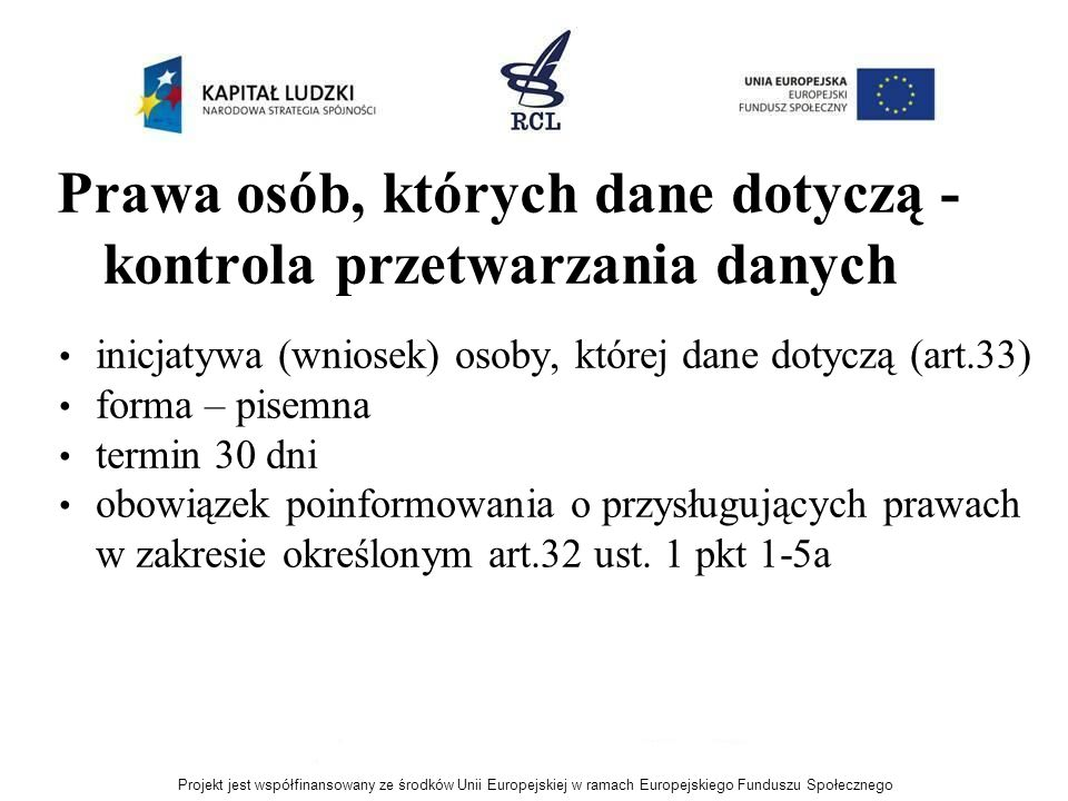 Prawa osób, których dane dotyczą - kontrola przetwarzania danych