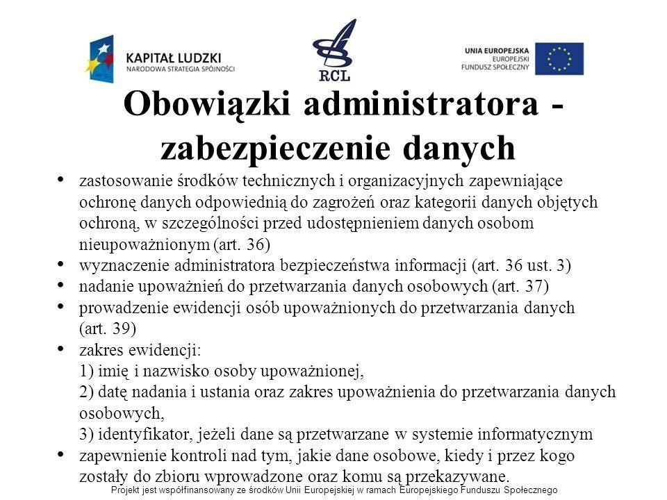 Obowiązki administratora - zabezpieczenie danych