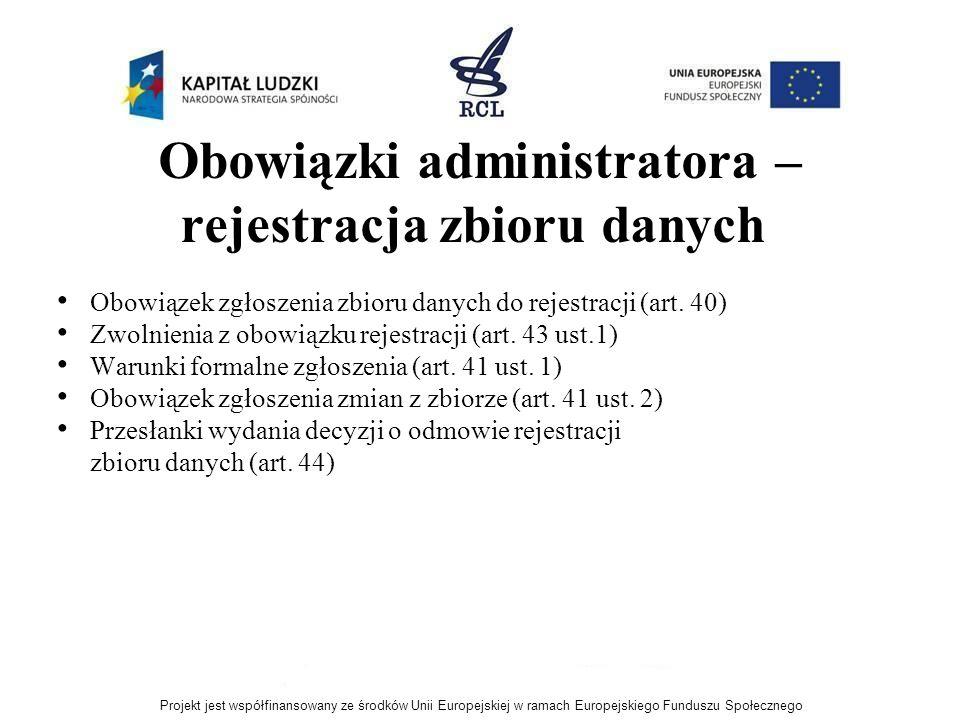Obowiązki administratora – rejestracja zbioru danych