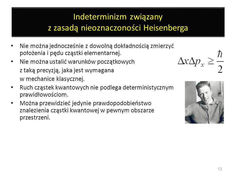 Indeterminizm związany z zasadą nieoznaczoności Heisenberga