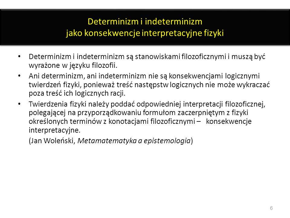 Determinizm i indeterminizm jako konsekwencje interpretacyjne fizyki